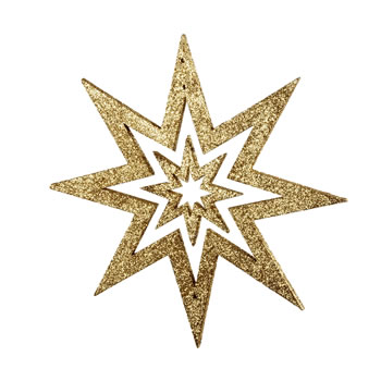 Image of Gold Glitter Star Hanging Christmas Decoration