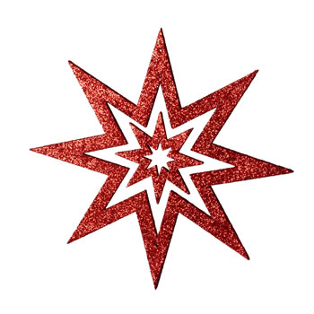 Image of Red Glitter Star Hanging Christmas Decoration