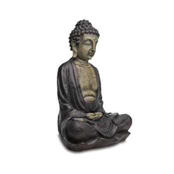 Image of Stone Look Resin Buddha Figure Garden Ornament