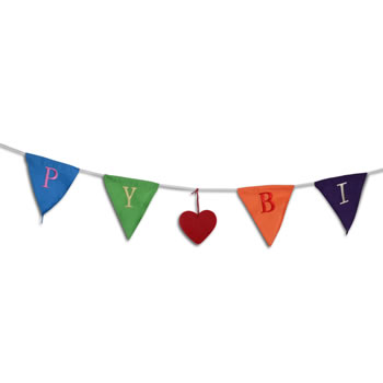 Extra image of 2m Long 'Happy Birthday' Brightly Coloured Bunting Garland