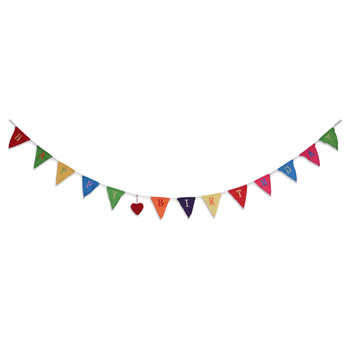 Image of 2m Long 'Happy Birthday' Brightly Coloured Bunting Garland