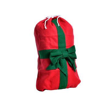 Image of Small Red Drawstring Felt Christmas Sack Gift Bag with Green Bow