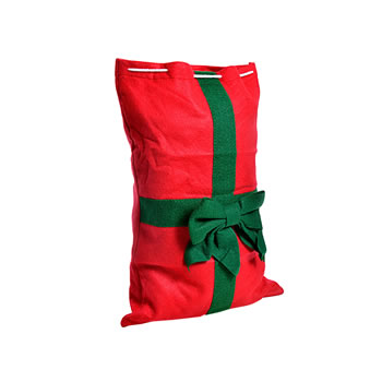 Extra image of Small Red Drawstring Felt Christmas Sack Gift Bag with Green Bow