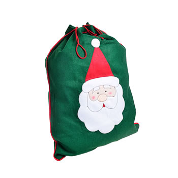 Image of Large Green Felt Christmas Sack Gift Bag with Stitched Santa Design