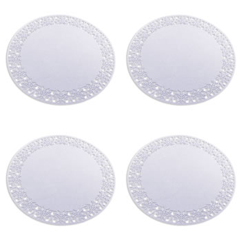 Image of Set of 4 35cm White Felt Snowflake Christmas Placemats