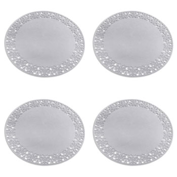 Image of Set of 4 35cm Grey Felt Snowflake Christmas Placemats