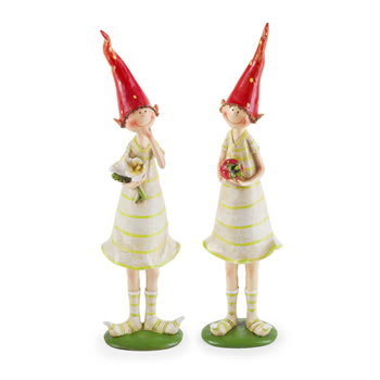 Image of 2 Standing Strawberry Pixies Polyresin Garden Fairy Ornament Figurines
