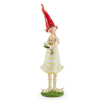 Extra image of 2 Standing Strawberry Pixies Polyresin Garden Fairy Ornament Figurines