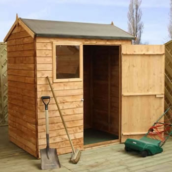 Image of 6 x 4 Overlap Single Door Reverse Apex Wooden Garden Shed