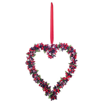 Image of Medium Artificial Frosted Red Berry Hanging Heart Decoration
