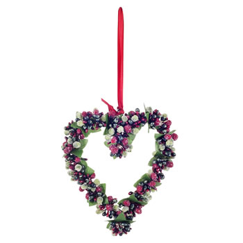 Image of Hanging Artificial Red & Green Frosted Berry Heart Christmas Decoration