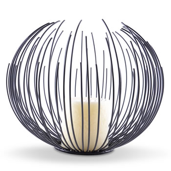 Image of Modern Black Finish Sea Urchin Candle Holder with Pillar Candle