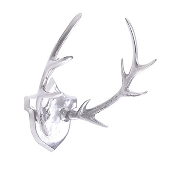 Image of Large Aluminium Trophy Antler Plaque Wall Art