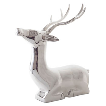 Image of 'Vico' Extra Large Laying Stag Silver Aluminium Christmas Feature Ornament