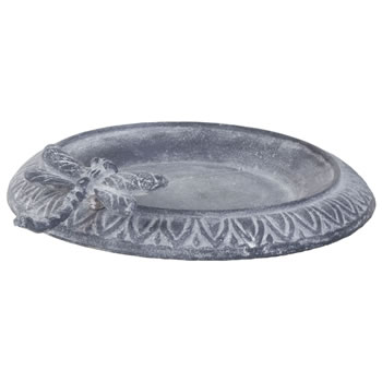 Image of Aged Grey Cast Iron 24cm Garden Bird Bath Feeder Bowl with Dragonfly