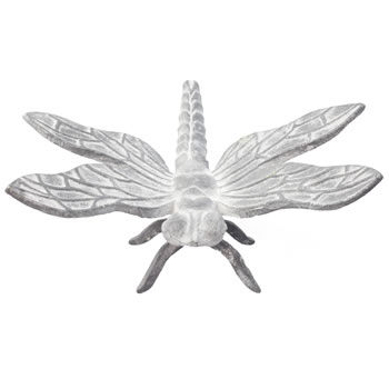 Image of Large 20cm Aged Grey Cast Iron Dragonfly Garden Ornament
