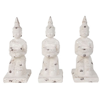 Image of 3 x Aged Off-white Ceramic 28cm Kneeling Buddha Tealight Holder