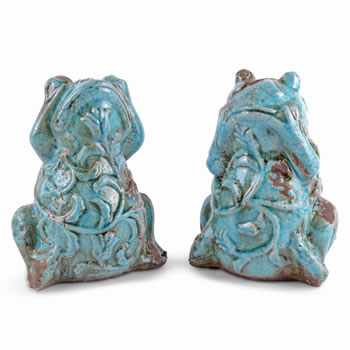 Image of Pair of Decorative Weathered Effect Terracotta Frog Ornaments for the Home