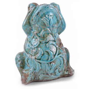 Image of Decorative Weathered Effect Turquoise Terracotta Frog Ornament