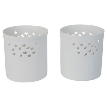 Image of Set of 2 White Porcelain Floral Tealight Candle Holders for the Home