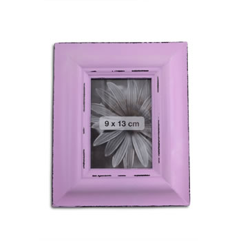 Image of Antique Finish Wooden Photograph Frame in Lilac for 5 x 3.5
