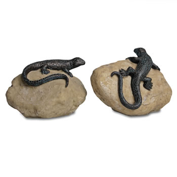 Image of Sitting Lizard on a Rock Resin Garden Ornaments - Set of Two