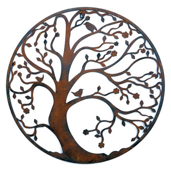 Image of Round Metal Tree Wall Art in Rusty Coloured Finish