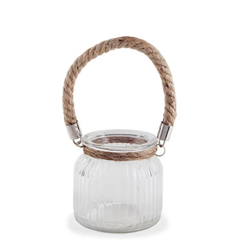 Image of 'Oban' 11cm Glass Windlight Candle Holder Lantern with Rope Handle