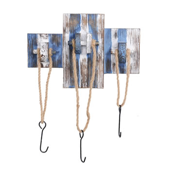Image of Rustic Blue & White Wooden Nautical Triple Rope Coat Hook
