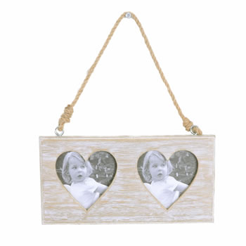 Image of Rustic Wooden Double Heart Photoframe with Rope Hanger