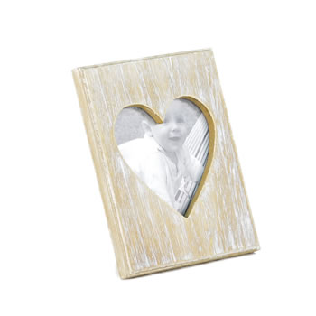 Image of Natural Wood Photoframe with Heart Aperture