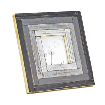 Image of Free Standing Rustic Finish Reclaimed Pine Wood Photoframe in Black