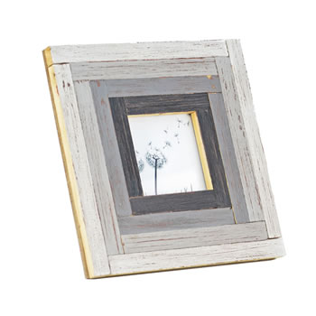 Image of Free Standing Rustic Finish Reclaimed Pine Wood Photoframe in Grey