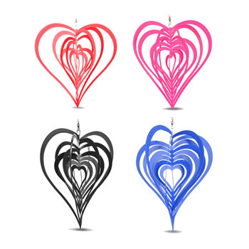 Image of Set of Four Coloured Heart Shaped Windspinners for Home or Garden