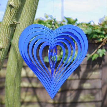 Extra image of Blue Heart Shaped Steel Garden Windspinner