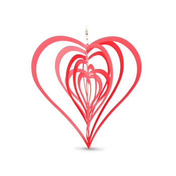 Image of Red Metal Heart Shaped Windspinner for the Home or Garden