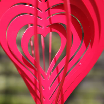 Extra image of Red Metal Heart Shaped Windspinner for the Home or Garden