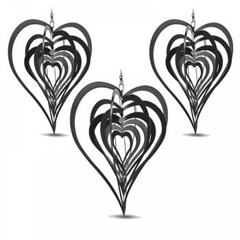 Image of Set of Three Black Heart Shaped Steel Garden Windspinners