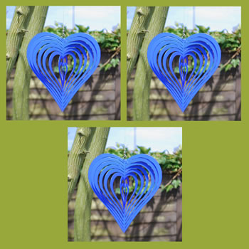 Extra image of Set of Three Blue Heart Shaped Steel Garden Windspinners