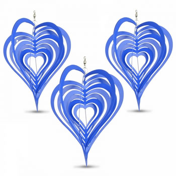 Image of Set of Three Blue Heart Shaped Steel Garden Windspinners