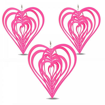 Image of Set of Three Pink Heart Shaped Steel Garden Windspinners