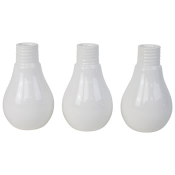 Image of Set of 3 Contemporary Glazed White Ceramic Light Bulb Vases