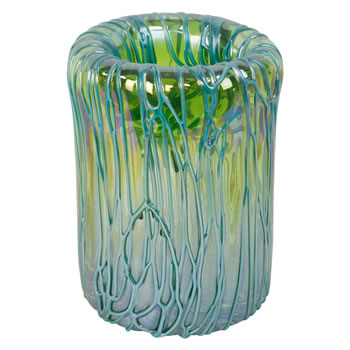 Image of Petrol Green & Blue Chunky Veined Glass Retro Vase Ornament