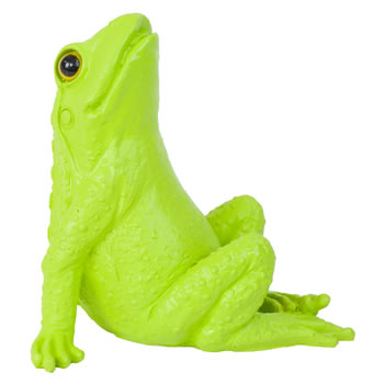 Image of Retro Pop Art Green Polyresin Sitting Frog Statue Ornament