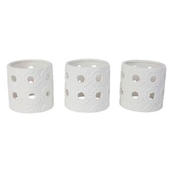 Image of Set of 3 White Porcelain Eastern-Style Tile Tealight Holders for the Home