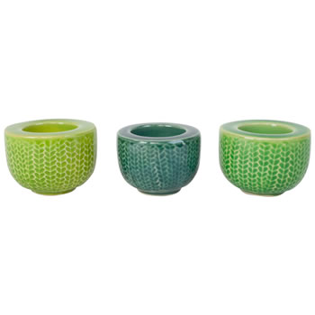 Image of Set of 3 Small Green Ceramic Retro Tealight Holders