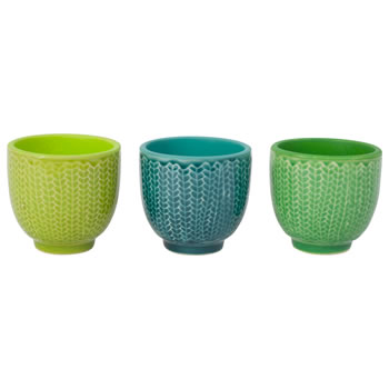 Image of Set of 3 Green Ceramic Retro Bowl Tealight Holders