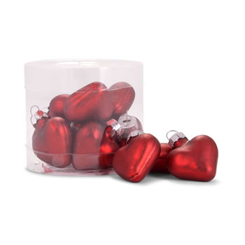 Image of Set of 12 Mini Red Glass Heart Bauble Christmas Tree Decorations
