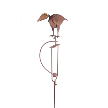 Image of Rocking Crow Metal Garden Ornament Feature