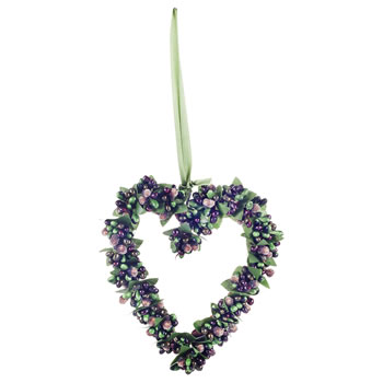 Image of Artificial Frosted Green Berry Hanging Heart Christmas Decoration